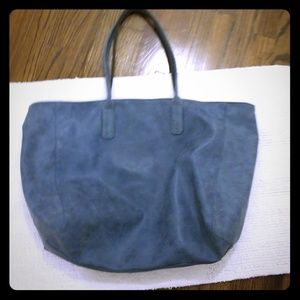 Saks Fifth Avenue blue faux leather tote bag